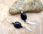 Czech Bead and Sterling Silver Feather Earrings