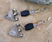 Old Silver Metal Telsum Bead Earrings