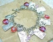 VALENTINE HEART N LOVE NOTE CHARM BRACELET