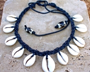 Black Braided Teadrop Cowrie Shell Necklace-Unisex