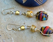 African Trade Bead Brown Multi Brass Earrings