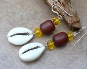 Plant Amber Cowry Shell Earrings