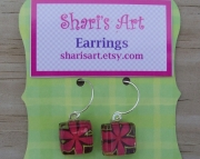 Dark Pink Flower Square Glass Drop Earrings
