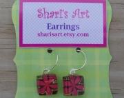 Dark Pink Flower Square Glass Drop Earrings