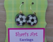 Soccer Ball Glass Drop Earrings
