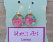 Pink Flower Watercolor Glass Drop Earrings