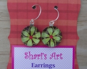 Lt Green Flower Glass Drop Earrings