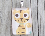 Yellow Striped Cat Pendant