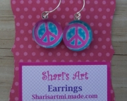 Pink Peace Sign Glass Drop Earrings