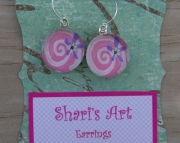 Purple Flower Pink Swirl Glass Drop Earrings