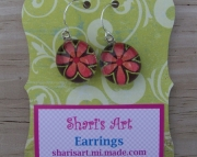 Pink and Green Flower Glass Drop Earrings