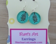 Brown Fern Glass Drop Earrings