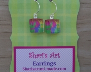 Abstract Colorful Square Glass Drop Earrings