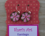 Light Pink and Brown Flower Glass Drop Earrings