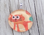 Orange Cat (round) Pendant