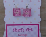 Pink Heart Square Glass Drop Earrings
