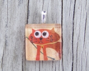 Orange Cat (square) Pendant
