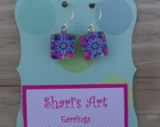 Blue Flower Square Glass Drop Earrings