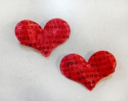 Red Sequin Heart Hair Clips - Set of 2