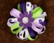 Purple and Green Polka Dot Flower Bloom