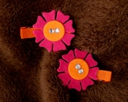 Bright Pink and Orange Flower Clippies