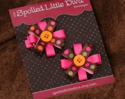 Bright Brown/pink Polka Button Clippies