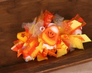 Halloween Bows - Candy Corn Halloween Bow Loopy Layered Boutique Bow with Felt Candy Corn embellishm
