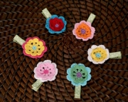 Crochet Flower Clip - Your choice of color