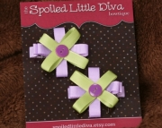Lavender and Green Button Clippies