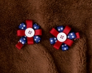 Girls Hair Clips - Patriotic Button Clip Set