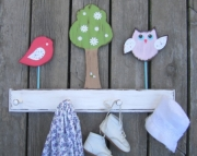 Haley Bird Brooke Owl Daisy Tree Custom Nursery Room Eco Friendly Wood Keepsake Clothing Towl Rack b