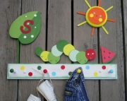 Hungry Caterpillar Polka Dot Eco Friendly Personalized Wood Keepsake Clothing Bathroom Towel Rack by