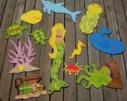 Under the Sea Eco Friendly Custom Nursery Room Wood Wall Mural Mermaid Growth Chart Blue Whale Cloth