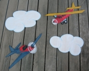 Tyson Airplanes Country Rustic Shabby Chic Vintage Primitive Style Wood Mural Set