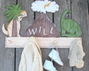 Dinosaurs Volcano Eco Friendly Personalized Shabby Chic Prehistoric Nursery Room Keepsake Wood Cloth