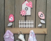 Clara Songbird Daisy Heart Birdhouse Picket Fence Country Shabby Chic Keepsake Wood Nursery Decor Cl