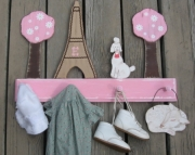 Paris Toile Shabby Chic Pink White Brown Eiffel Tower Poodle Daisy Trees Personalized Wood Clothing