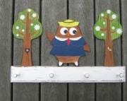 Madeline Owl Paris France Schoolgirl Eco Friendly Wood Personalized Keepsake Clothing Towel Rack