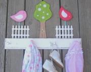 Penelope Birds Picket Fence Daisy Tree Eco Friendly Country Nursery Room Wood Keepsake Clothing Towe