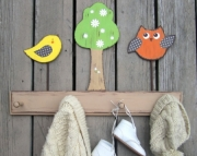 Haley Bird Brooke Owl Daisy Tree Custom Nursery Room Eco Friendly Wood Keepsake Clothing Towel Rack