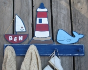 Nautical Lighthouse Blue Whale Eco Friendly Personalized Sailboat Nursery Room Wood Clothing Towel R