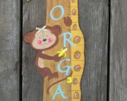 Jungle Animals Giraffe Monkey Tucan Eco Friendly Personalized Custom Boy Girl Wood Keepsake Growth C