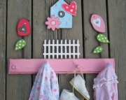 Haley Birds Birdhouse Picket Fence Eco Friendly Wood Keepsake Clothing Towel Rack By Storytime Art