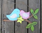Baby Sleeping Bluebird Branch Eco Friendly Personalized Star Nursery Room Wood Keepsake Sign
