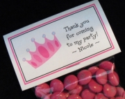 Personalized Birthday Party Favor Toppers and Bags, Princess Crown, Set of 10 Labels and Bags