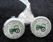 Personalized Birthday Stickers for Hershey Kisses, Green Tractor Design, 120 Stickers