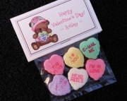 Personalized Valentine Party Favor Bag Toppers, Teddy with Pink Hat and Candy Hearts, Set of 10, Inc
