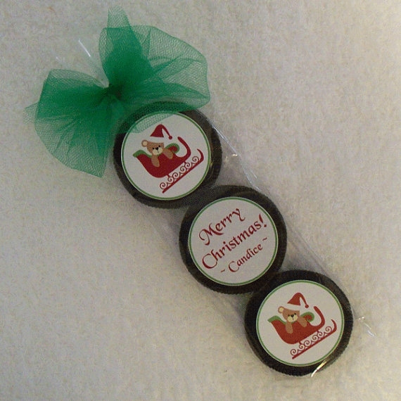Personalized Christmas Oreo Cookie Favor Set, Teddy In