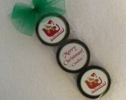 Personalized Christmas Oreo Cookie Favor Set, Teddy in Sleigh, Set of 25