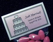Personalized Wedding Favor Topper Labels and Bags, Set of 100